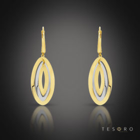 San Leo Yellow & White Gold Oval Dangle Earrings