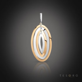 San Gemini Rose & White Gold Oval Pendant