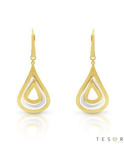 Tesoro Vinci Yellow & White Gold Dangle Earrings