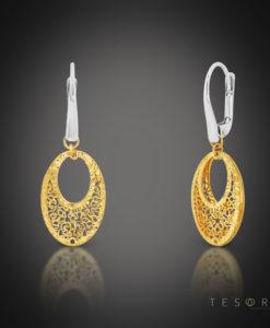 Tesoro Yellow & White Gold Oval Earrings