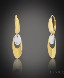 Tesoro Toro Yellow & White Gold Oval Dangle Earrings