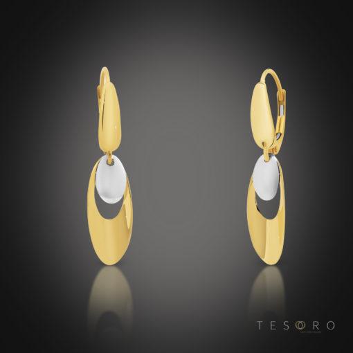 Tesoro Toro Yellow & White Gold Oval Dangle Earrings