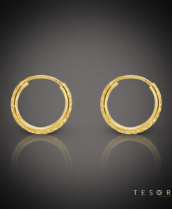 Ortona 10mm Yellow Gold Diamond Cut Sleeper Earrings