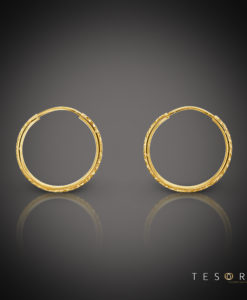 Ortona 15mm Yellow Gold Diamond Cut Sleeper