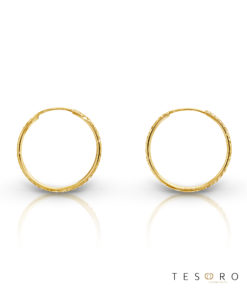 Ortona 20mm Yellow Gold Diamond Cut Sleeper