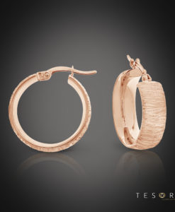Tesoro Giulia Rose Gold Hoop Earrings 15mm