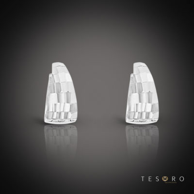 Tesoro Pisa White Gold Huggie Earrings