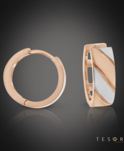 Tesoro Stilo Rose & White Gold Huggie Earrings