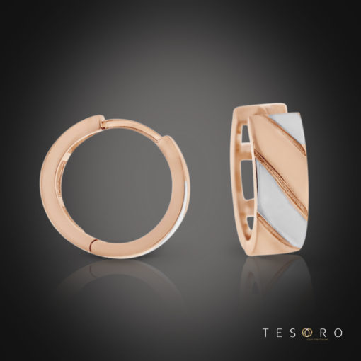 Tesoro Stilo Rose & White Gold Huggie Earrings