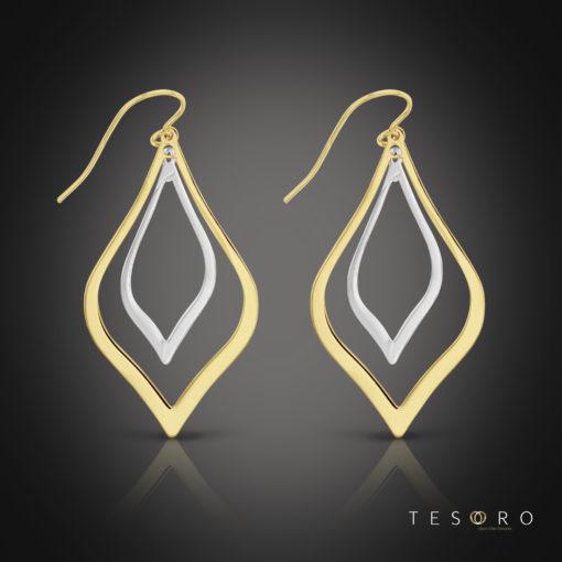 Tesoro Sovana Yellow & White Gold Dangle Earring