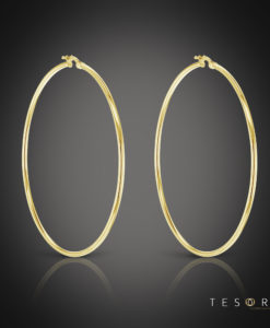 Tesoro Celestine Yellow Gold Hoop Earrings 60mm