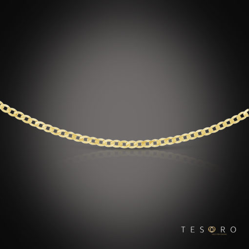 Tesoro Margutta Yellow Gold Curb Link Chain, 3.3mm