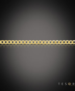 Tesoro Lata Yellow Gold Mens Curb Chain, 5mm