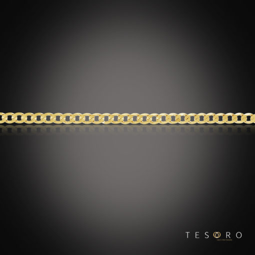 Tesoro Lata Yellow Gold Mens Curb Chain, 5mm