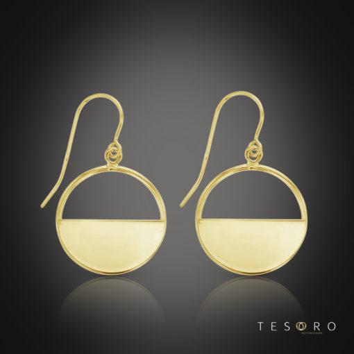 Tesoro Varenna Yellow Gold Dangle Earrings 16mm