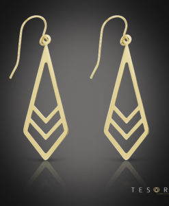 Tesoro Pacentro Yellow Gold Dangle Earrings 35mm