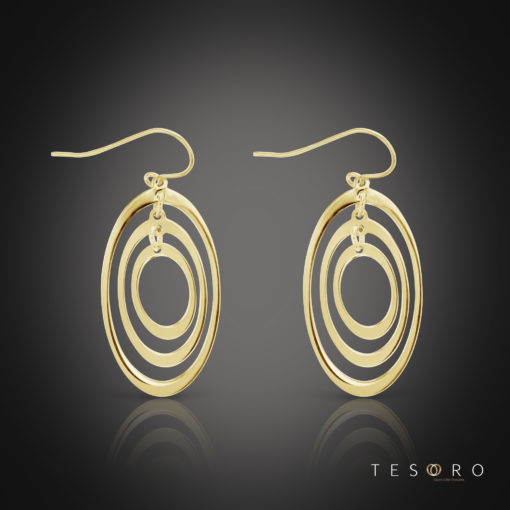Tesoro Altamonte Yellow Gold Oval Dangle Earrings 15mm