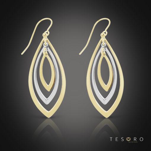Tesoro Vipiteno Yellow & White Gold Dangle Earrings 35mm