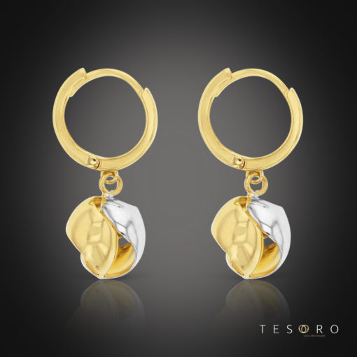 Tesoro Corricella Huggies Earrings Featuring A Hanging Yellow & White Gold Charm