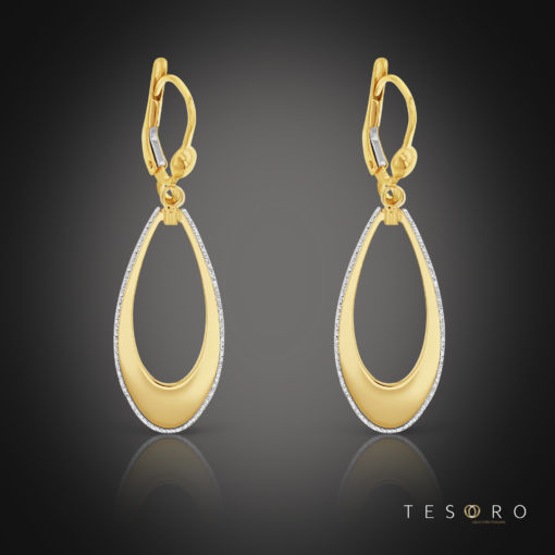 Tesoro Sovana Yellow & White Gold Dangle Earrings