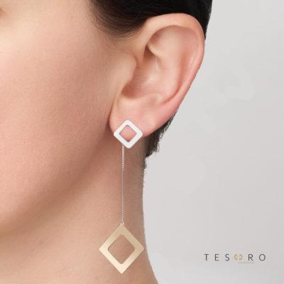 Sabotino Diamond Profile Dangle Earrings, 60mm