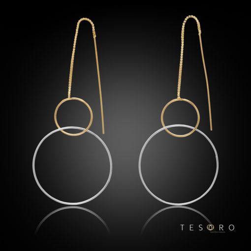 Marina Yellow & White Gold Double Circle Dangle Earrings, 60mm