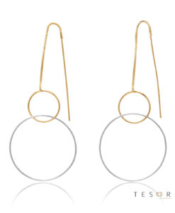 Marina Yellow & White Gold Double Circle Dangle Earrings, 60mm