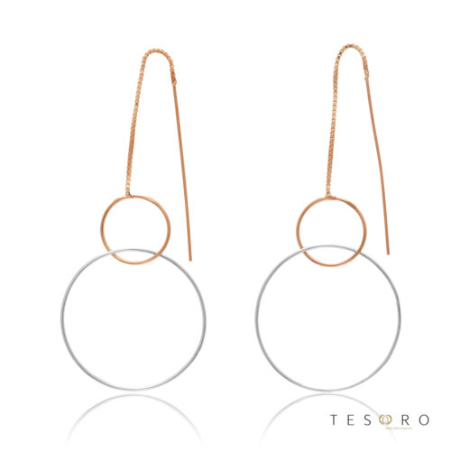 Marina Rose & White Gold Double Circle Dangle Earrings, 60mm