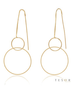 Marina Yellow Gold Double Circle Dangle Earrings, 60mm