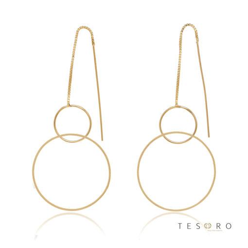 Marina Yellow Gold Double Circle Dangle Earrings, 60mm