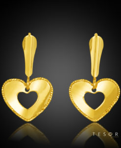 Grappa Yellow Gold Heart Profile Dangle Earring 15mm Length