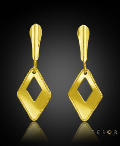 Pineto Yellow Gold Diamond Profile Dangle Earring 15mm Length