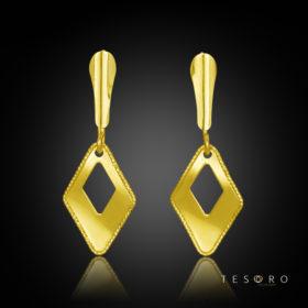 Pineto Yellow Gold Diamond Profile Dangle Earring 15mm Length