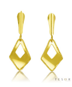 Marina Yellow Gold Elongated Diamond Profile Dangle Earrings