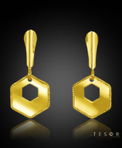 Torinese Yellow Gold Hexagon Profile Dangle Earrings