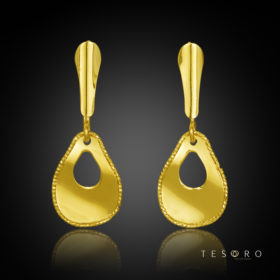 Spinito Yellow Gold Tear Profile Dangle Earring 15mm Length