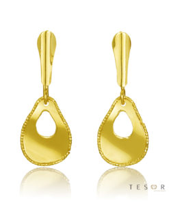 Tesoro Spinito Yellow Gold Tear Profile Dangle Earring
