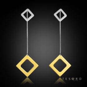 Sabotino Yellow & White Gold Diamond Profile Dangle Earrings, 60mm
