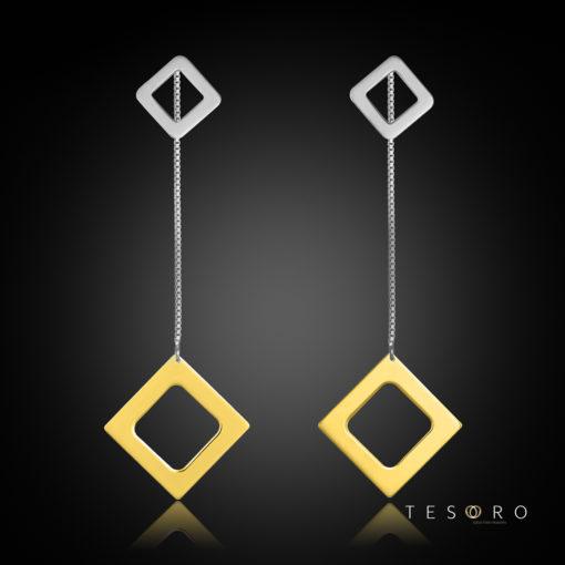 Sabotino Yellow & White Gold Diamond Profile Dangle Earrings, 60mm