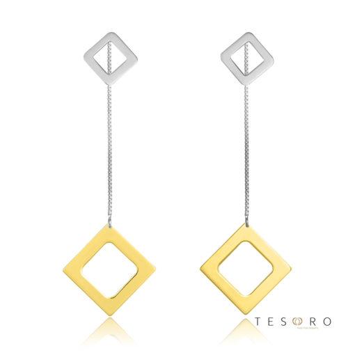 Sabotino Yellow & White Gold Diamond Profile Dangl