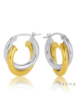 10OBC499-99 Valentia Yel-White Gold Cross Over Hoop Earrings