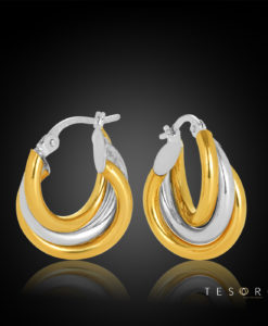 10OBC698-99 Ariano Yelllow-White Gold Triple Tube Hoop Earring