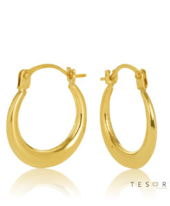 10OBS92-99 Cava Yellow Gold 10mm Progressive Hoop Earring