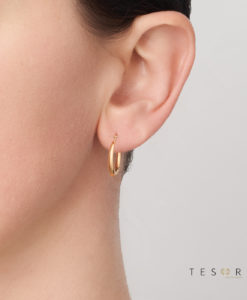 12OBS92-99 Cava Yellow Gold 12mm Progressive Hoop Earring