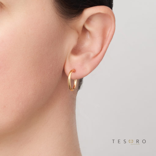 15OBC305-99 Celestine Yellow Gold Round 2.5m Hoop Earring 15mm Diameter