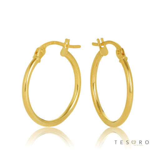 15OBC527-99 Eboli 1.5mm Round Tube Hoop Earring 15mm Diameter