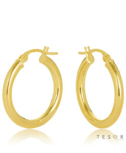 15OBC305-99 Celestine Yellow Gold Round 2.5m Hoop Earring 15mm Diameter