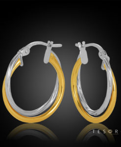 15OBC615-99 Forio Yellow & White Gold Hoop Earrings