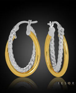 15OBC622-99 Bobbio Yellow & White Gold Oval Profile Hoop Earrings