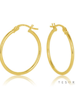 20OBC527-99 Eboli 1.5mm Round Tube Hoop Earring 20mm Diameter